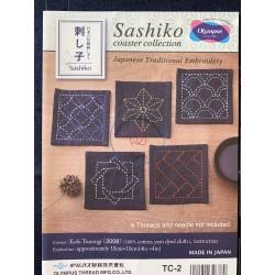 Sashiko patch coaster collection bleu