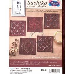 Sashiko patch coaster collection rouge bordeaux chiné