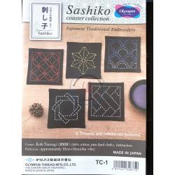 Sashiko patch coaster collection noir