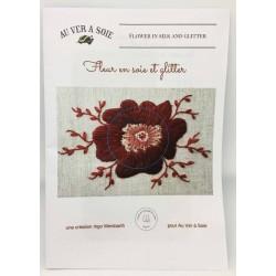 """Kit """"Fleur en soie et glitter""""  pack Bordeaux"""