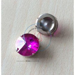 "Strass Swarovski cabochon ""Chatons""  ""rectangle"" fuchsia"
