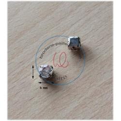 "Strass Swarovski cabochon ""Chatons""  6 mm crystal"