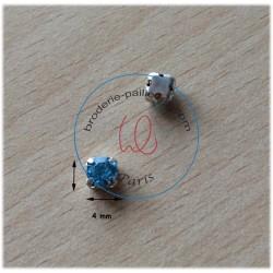 "Strass Swarovski cabochon ""Chatons""  4 mm aquamarine"